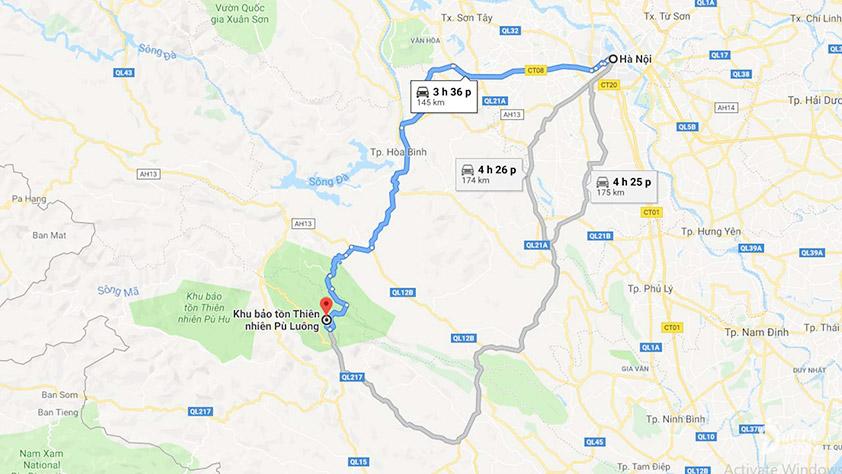 Bản đồ đi Pù Luông
